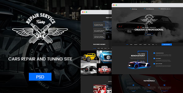 Mechanic - Car Repair, Tuning, Routine Maintenance PSD Template - Business Corporate