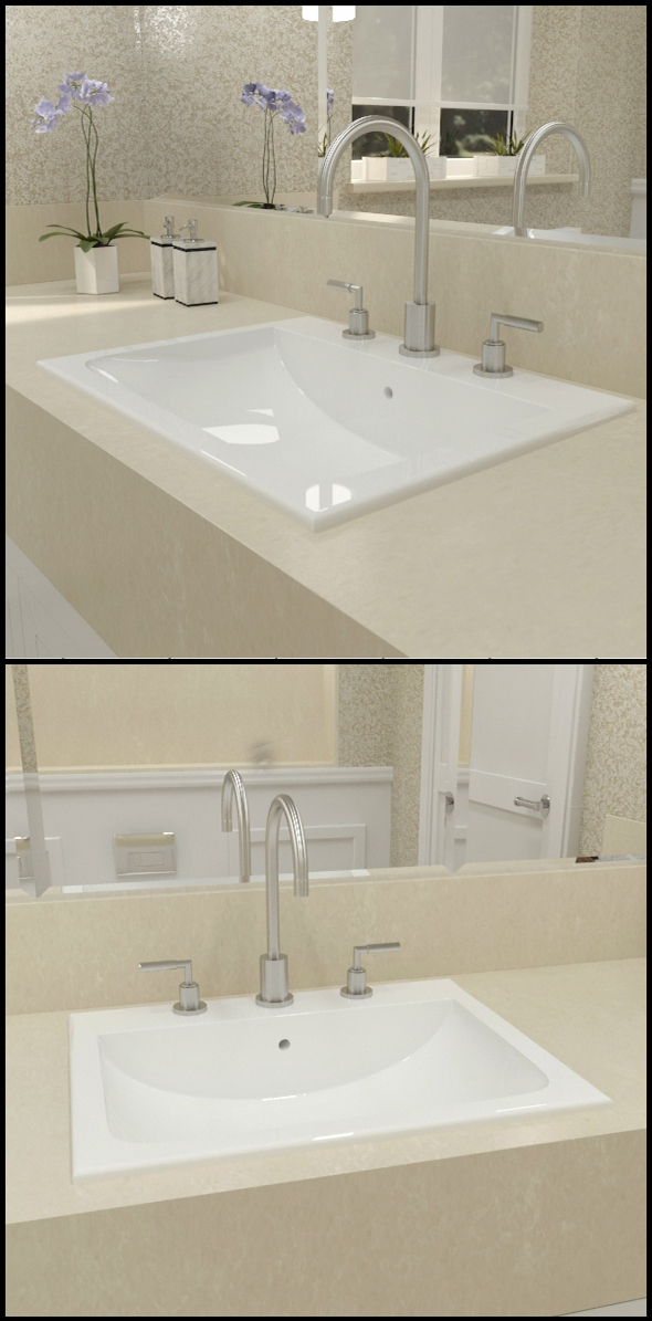 White ceramic basin, with taps - 3DOcean Item for Sale
