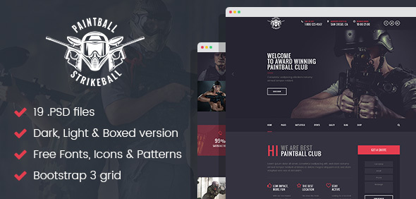 Paintball & Strikeball Club - Premium PSD template - Corporate PSD Templates