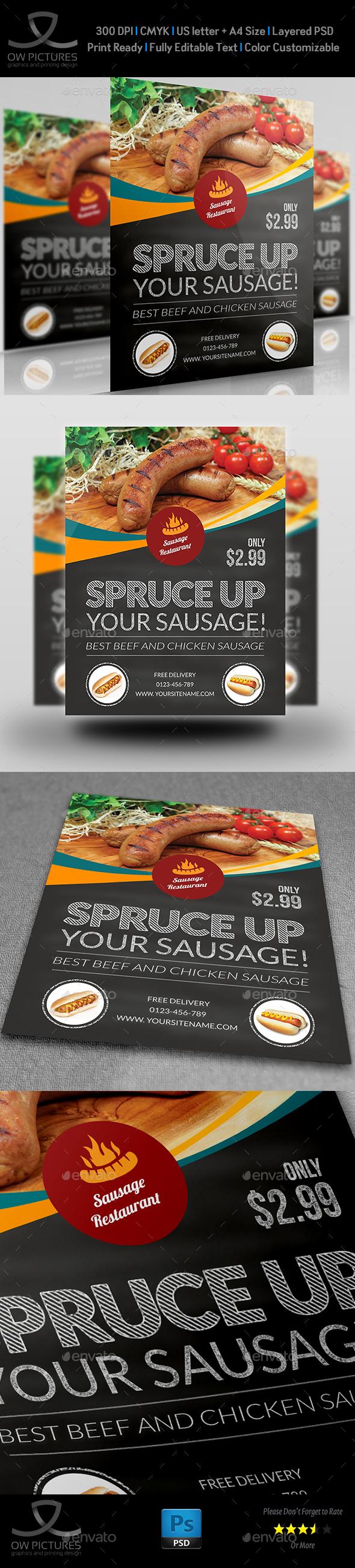 Sausage Restaurant Flyer Template