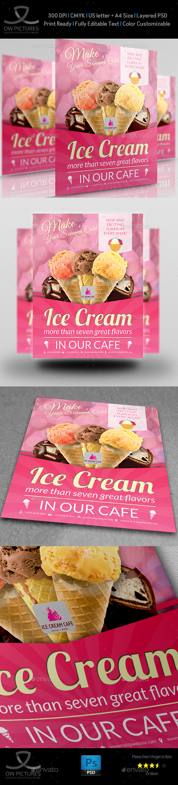 Ice Cream Flyer Template Vol.4 - Restaurant Flyers