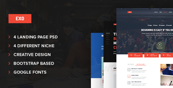 Exo 4 in 1 Multipurpose Landing Page PSD Template - Corporate PSD Templates