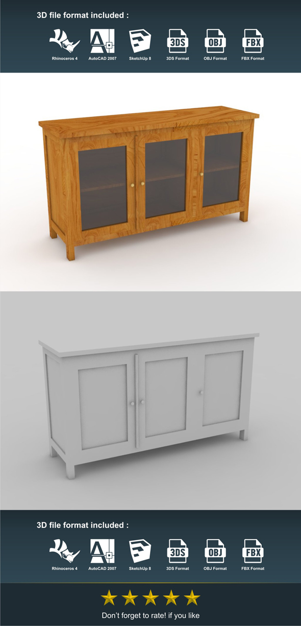 Glass Cabinet - 3DOcean Item for Sale