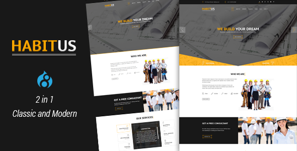Habitus - 2 in 1 Construction Drupal 8 Responsive Theme - Business Corporate
