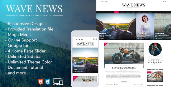 Wave News – WordPress Responsive Blog Theme