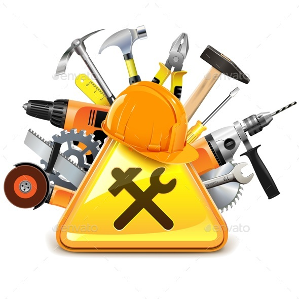 Construction Tools With Sign By Dashadima Graphicriver