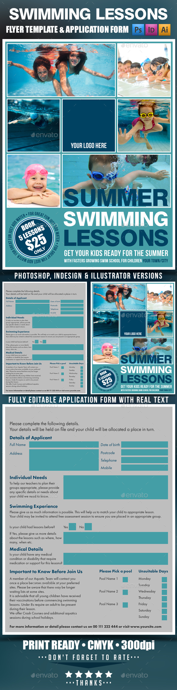 Summer Swimming Lessons Flyer Template
