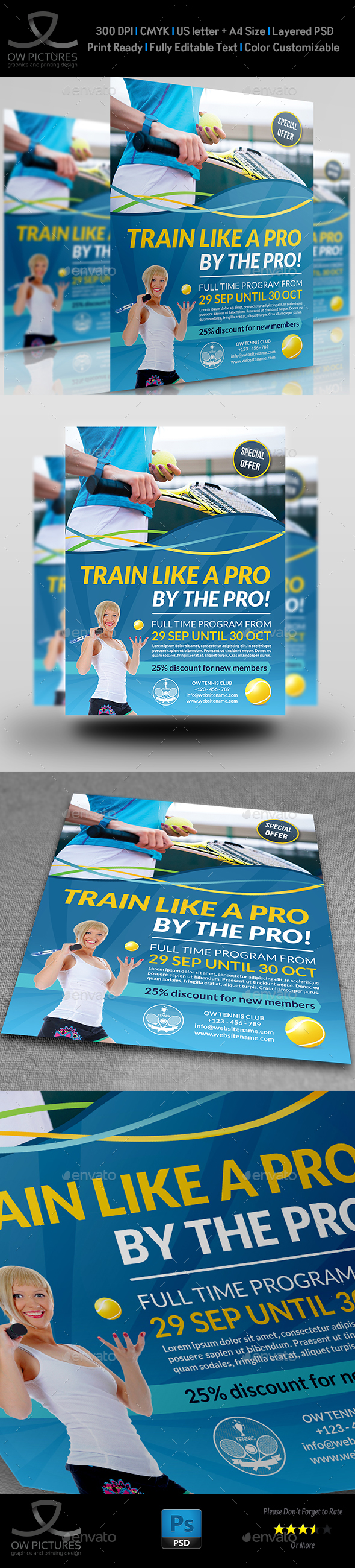 Tennis Training Flyer Template - Sports Events