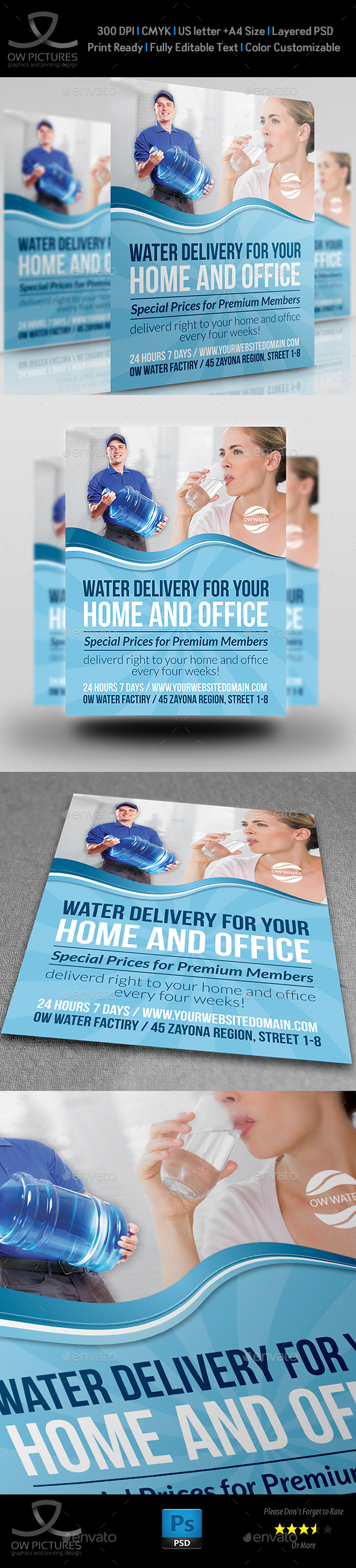 Delivery Drinking Water Service Flyer - Flyers Print Templates