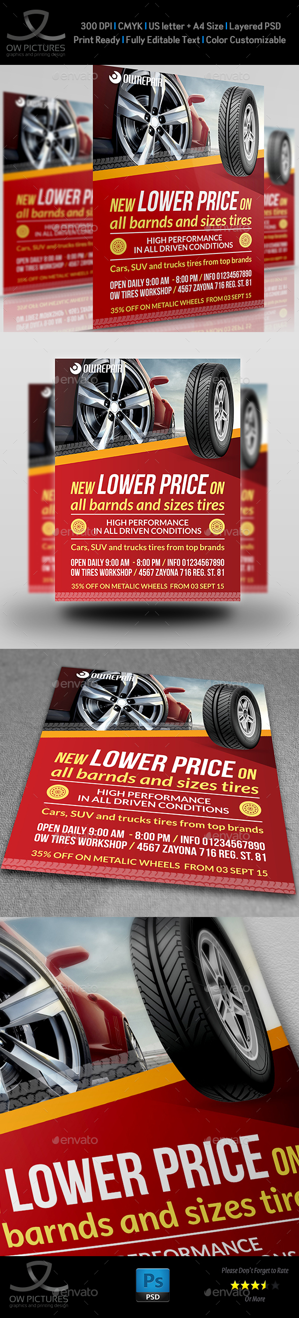 Tires Flyer Template - Flyers Print Templates