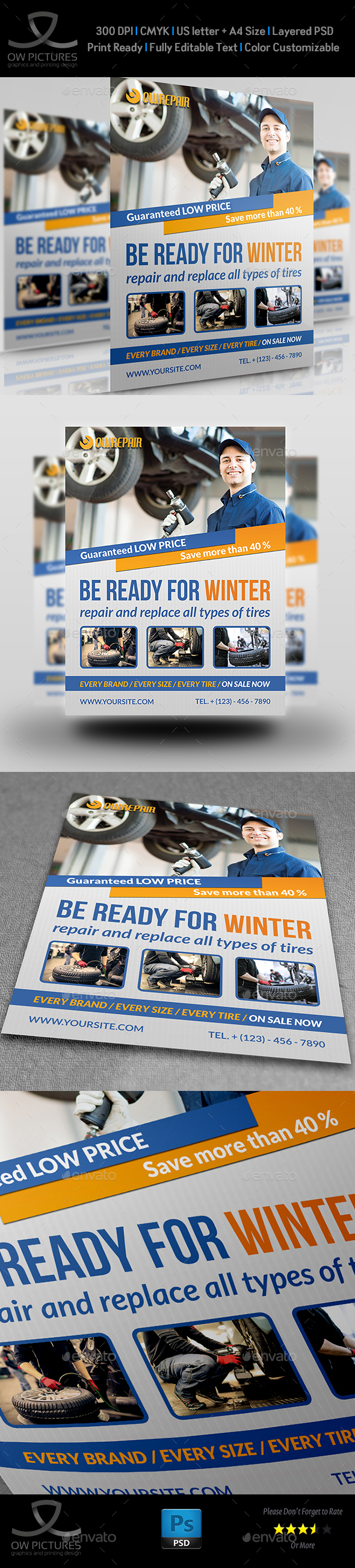 Tires Services Flyer Template - Flyers Print Templates