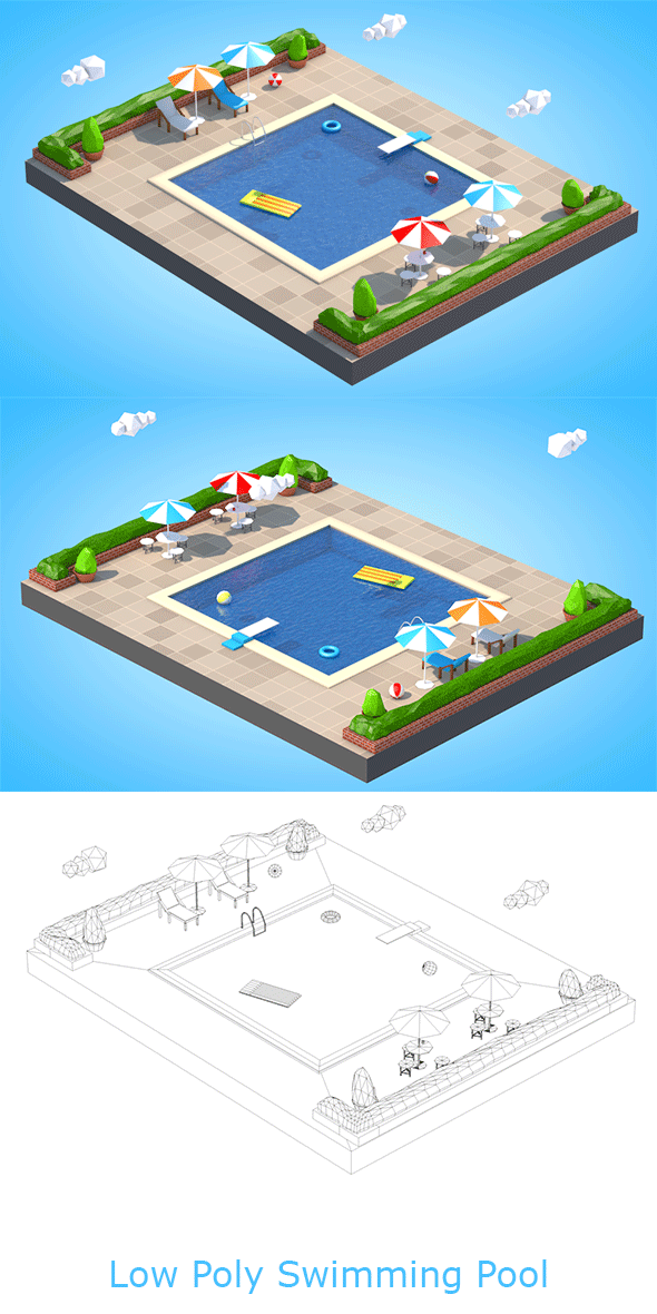 Low Poly Swimming Pool - 3DOcean Item for Sale