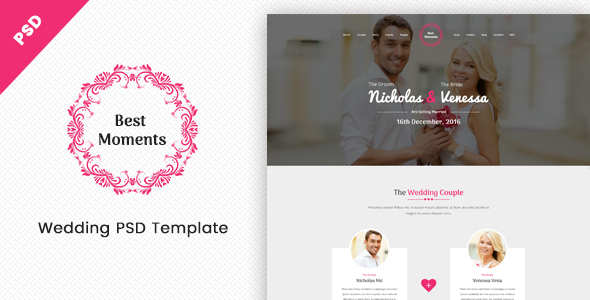 Best Moments – Mordern Wedding PSD Template