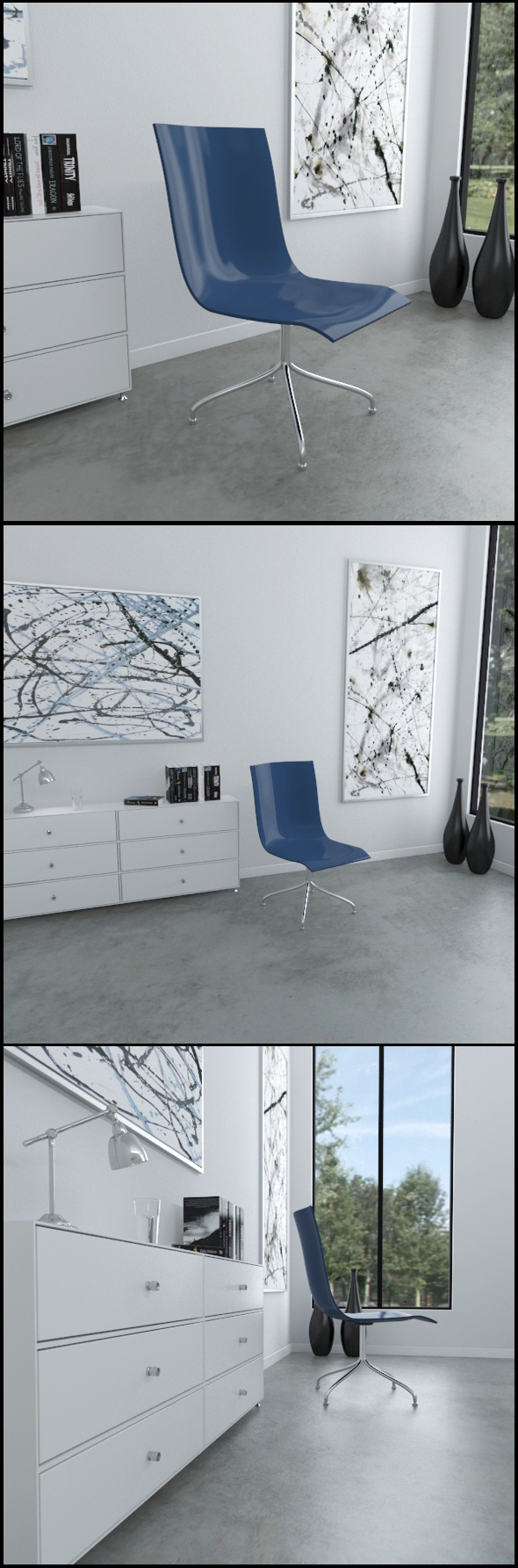 Blue plastic and chrome chair - 3DOcean Item for Sale
