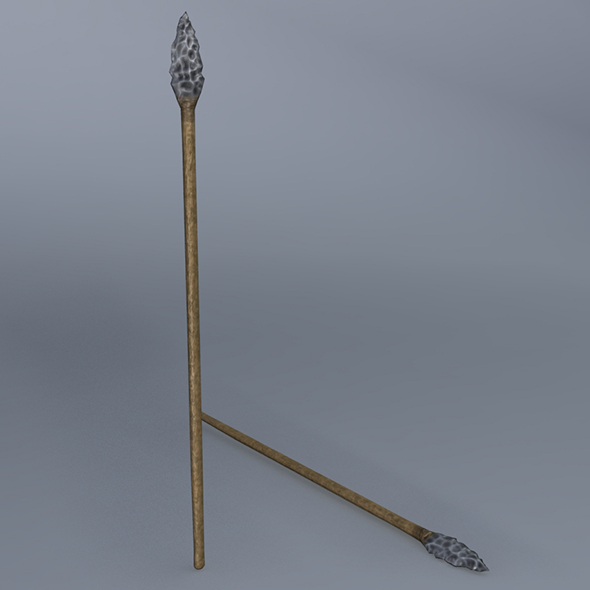 Low Poly Flint Spear - Maya, mb, OBJ, FBX + Textures - 3DOcean Item for Sale