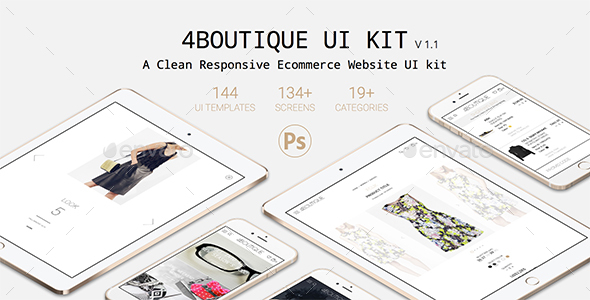4Boutique - A Responsive Ecommerce Web UI KIT PSD - User Interfaces Web Elements