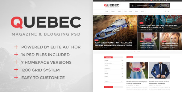 Quebec - News, Magazine & Blogging PSD Template