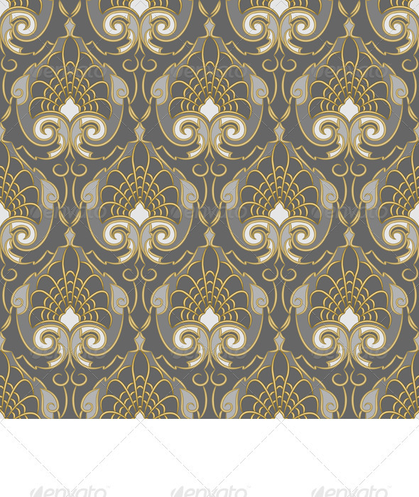Seamless Gold pattern on a Silver background - Patterns Decorative