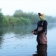 Man Goes Fly Fishing In The Morning River - VideoHive Item for Sale