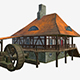 Low poly Water mill with Hi and low LODs game mode - 3DOcean Item for Sale