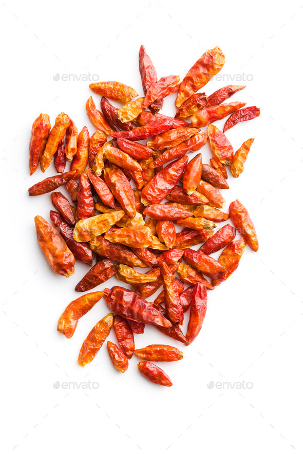 Dried mini chili peppers. - Stock Photo - Images