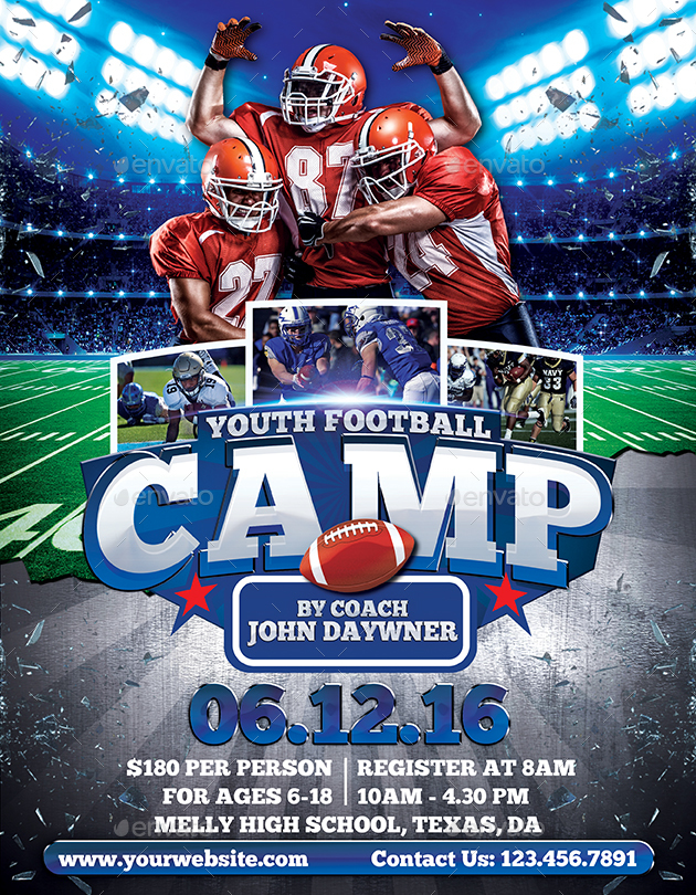 Youth Football Camp Flyer Dolapgnetband