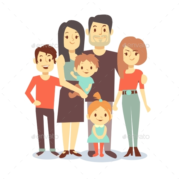cartoon family vector characters in casual by microvone graphicriver rh graphicriver net cartoon family pictures uk cartoon family pictures of 5