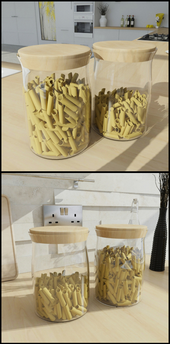 Glass jars with pasta (Penne) - 3DOcean Item for Sale