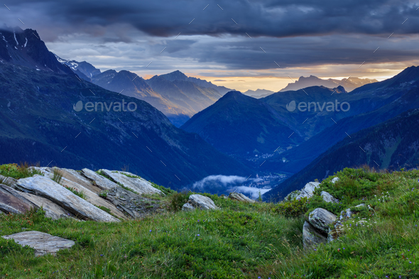 Chamonix valley in the clouds. France - Stock Photo - Images