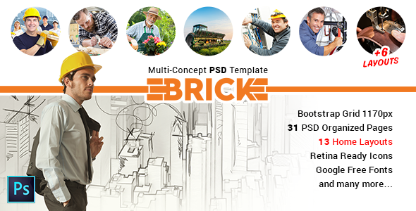 Brick – Multi Concept PSD Template