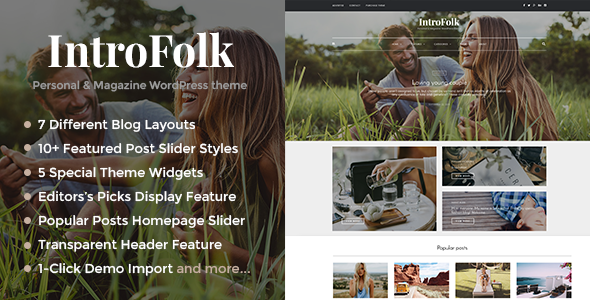Introfolk – Personal & Magazine WordPress Responsive Blog Theme