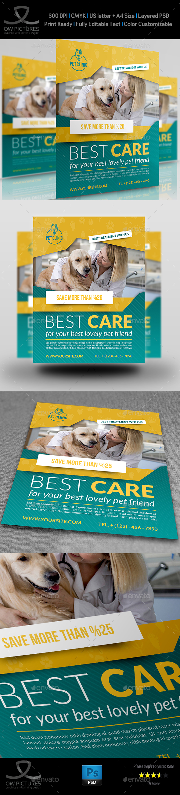Veterinarian Clinic Flyer Template - Flyers Print Templates