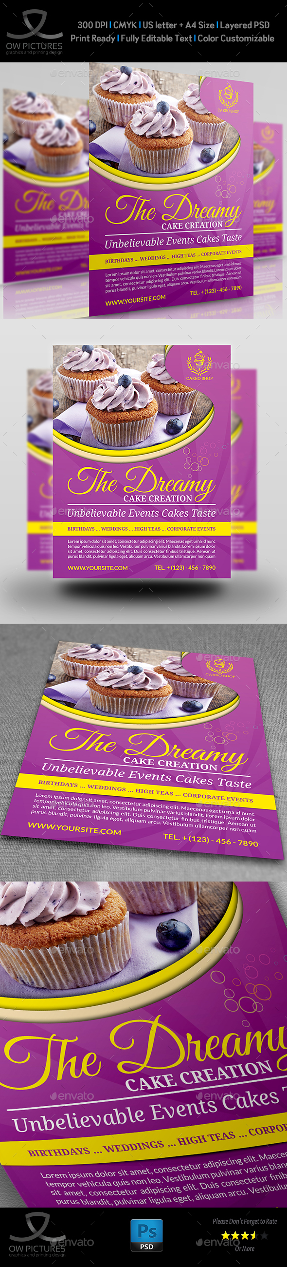 Cake Flyer Template Vol.5 - Flyers Print Templates
