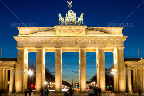 The Brandenburg Gate at dawn - Stock Photo - Images