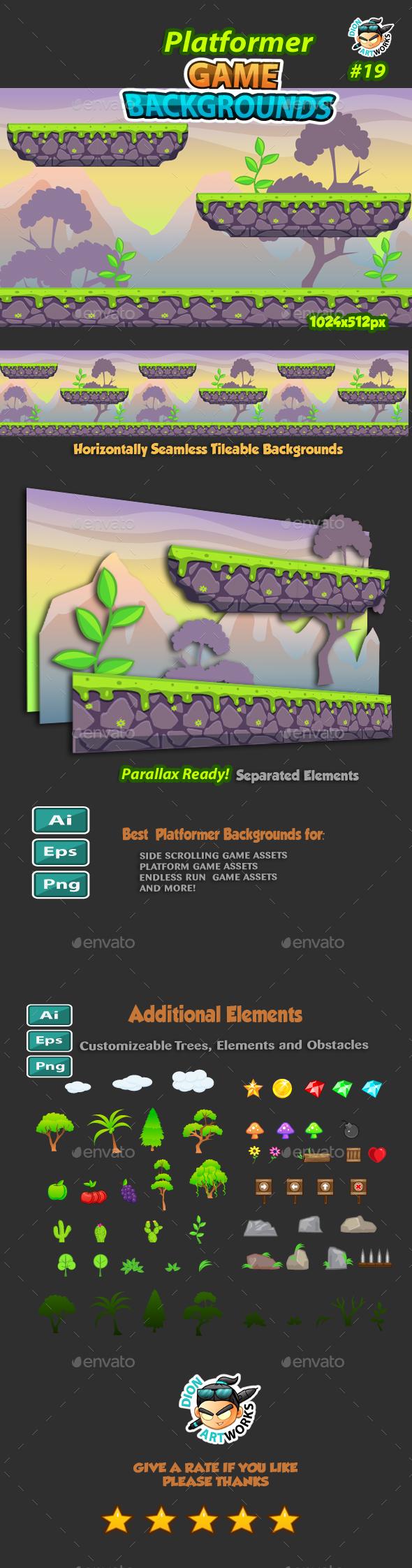 Platformer Game Background 19 - Backgrounds Game Assets