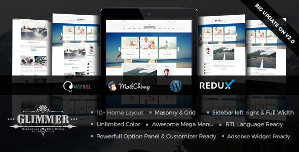 Glimmer - A Responsive WordPress Blog Theme - Personal Blog / Magazine