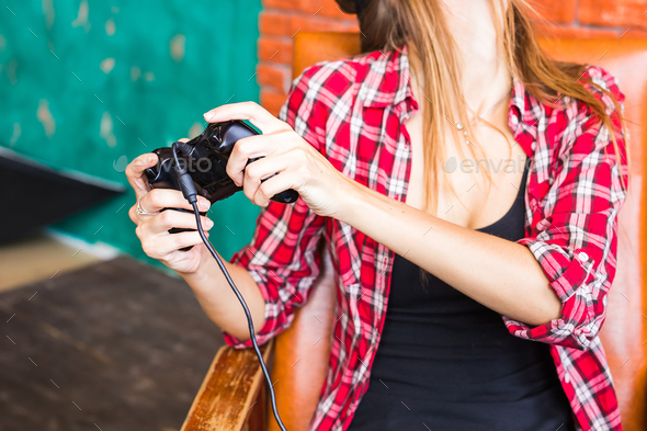 technology, virtual reality, entertainment and people concept - woman with vr headset playing game. - Stock Photo - Images