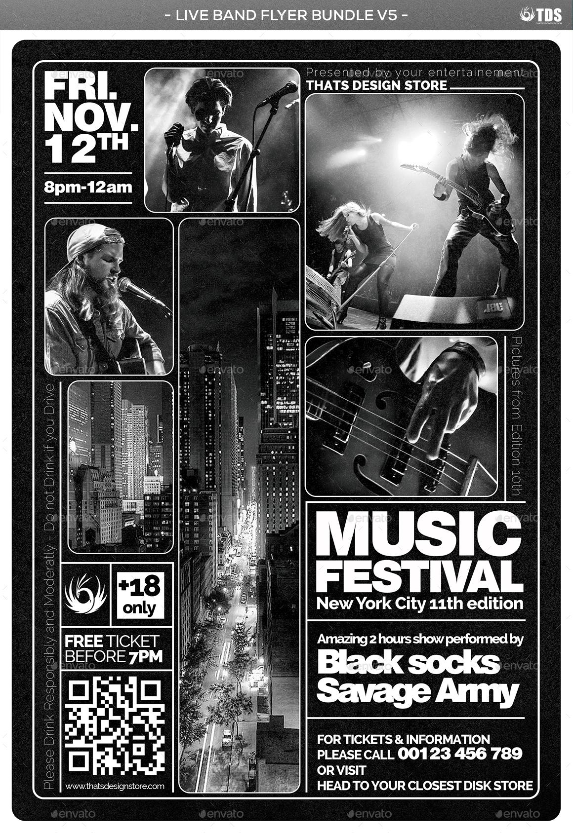 Live Band Flyer Bundle V5 by lou606 | GraphicRiver
