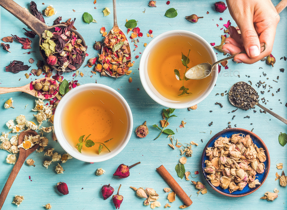 Two cups of healthy herbal tea - Stock Photo - Images