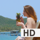 Beautiful Woman Take Cocktail on the Beach - VideoHive Item for Sale