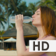 Girl Drinks Cold Water at Sunny Beach - VideoHive Item for Sale