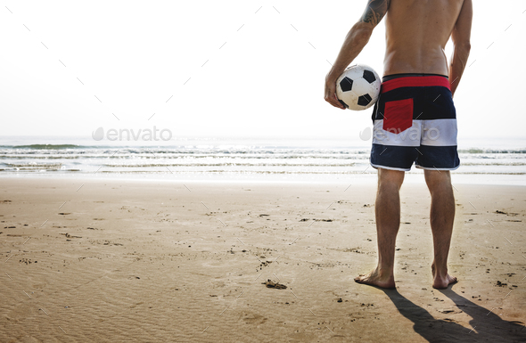 Man Beach Summer Holiday Vacation Volleyball Concept - Stock Photo - Images