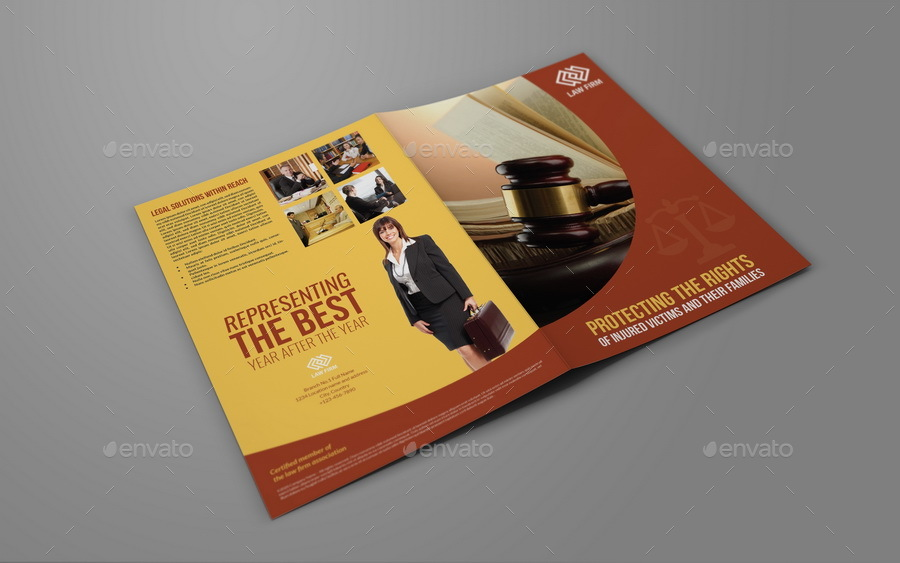 Law Firm Bi-Fold Brochure Template By Owpictures | Graphicriver