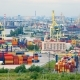 timelapse of the seaport with cranes, ships, containers and cargo in Saint-Petersburg, Russia - VideoHive Item for Sale