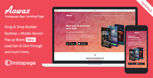Instapage App Landing Page Template - Aawaz