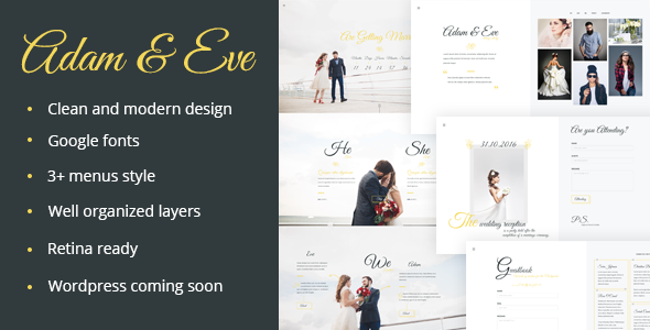 Adam & Eve – Wedding Day & Love Story PSD Theme