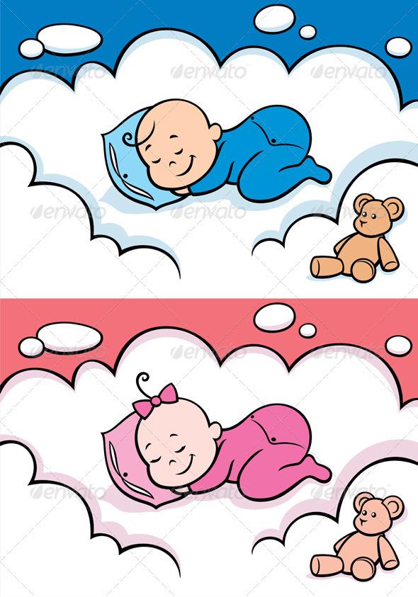 Sleeping Baby - Characters Vectors
