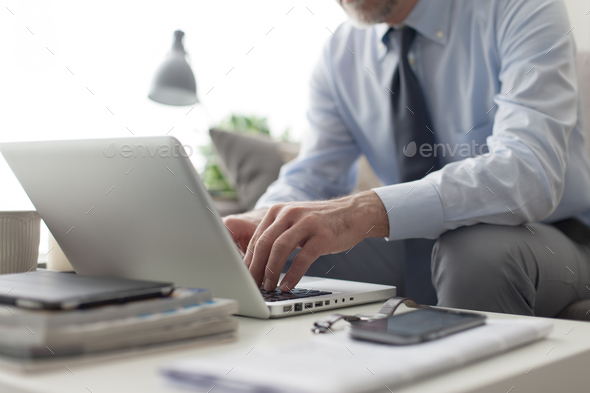 Businessman working with his laptop - Stock Photo - Images