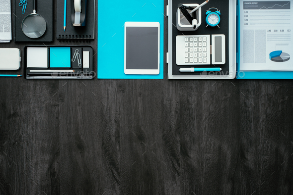 Flat lay business desktop - Stock Photo - Images