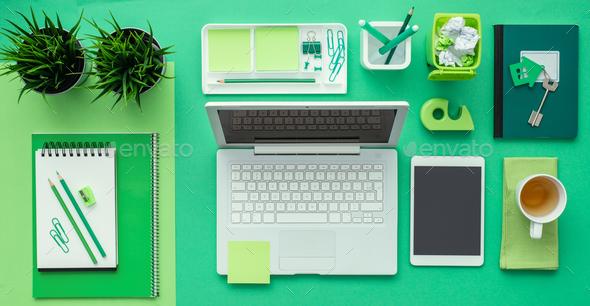 Green creative desktop - Stock Photo - Images